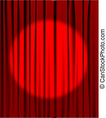 Curtain from the theatre with a spotlight - Red curtain from...