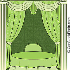 curtain., intérieur, vendange