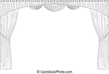 Curtain isolated contour - Theater curtain, black contour...