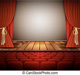 curtain., o, teatro, scena, cinema