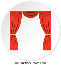 Curtain on stage icon circle