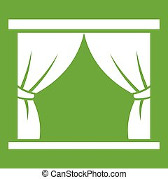 Curtain on stage icon green