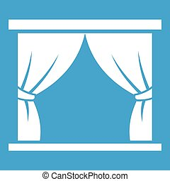 Curtain on stage icon white