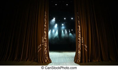 Curtain Opens. Empty theater stage with velvet curtains with...