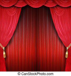 Curtain opens - Red curtain of a classical theater