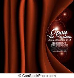curtain., piros