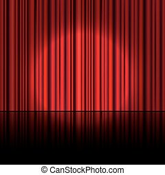 curtain., proyector, vector., etapa