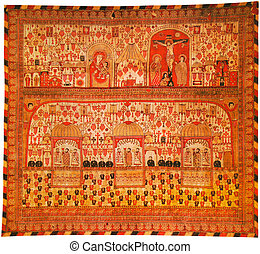 Red curtain from a armenians monastery of holy Etchmiadzin; Armenia; 1689 year.