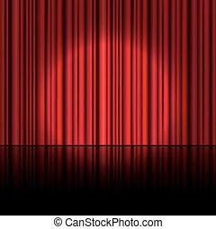 curtain., riflettore, vector., palcoscenico