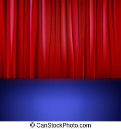 curtain., rosso, palcoscenico