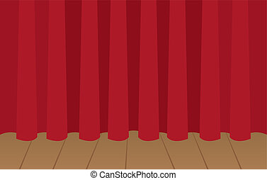 Curtain Stage Closed  - Red curtain closed on wooden stage