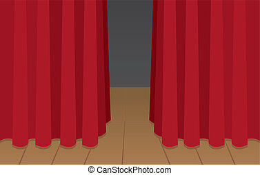 Curtain Stage - Red curtain slightly opened on wooden stage...