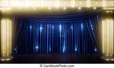 curtain stage with golden podium and loop lights