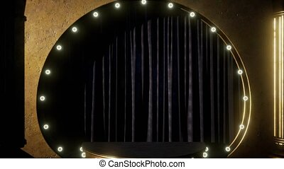 curtain stage with lights