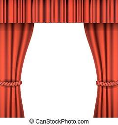 curtain., teatro, iso, rosso, palcoscenico