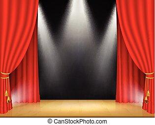 curtain., théâtre, projecteurs, rouges, étape