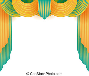 Curtain with a white background behind