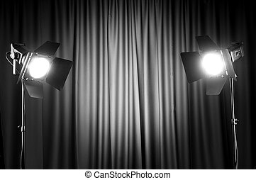Curtains and projector lights