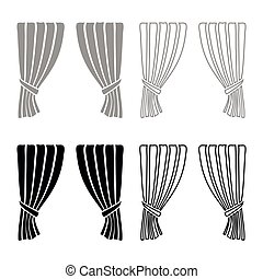 Curtains Blind Curtain Shutter Curtain Shade Portiere drapes for ceremony performance Luxurious curtains Grand opening announcement stage Presintation concept Open drapes Premiere idea icon set black color vector illustration flat style image
