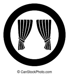 Curtains Blind Curtain Shutter Curtain Shade Portiere drapes for ceremony performance Luxurious curtains Grand opening announcement stage Presintation concept Open drapes Premiere idea icon in circle round black color vector illustration flat style image