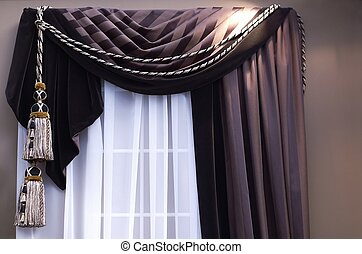 Curtains - brown swag curtains on window with tassels