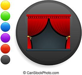 curtains icon on round internet button