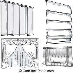 Curtains, jalousie, horizontal and vertical, closed, pattern...