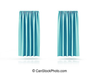 Curtains of birch color isolated on white background. 3d illustration