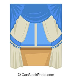 Curtains on window, Biedermaier fashion style isolated object