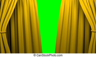 Curtains opening and closing stage theater cinema green...