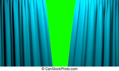Curtains opening and closing stage theater cinema green ...