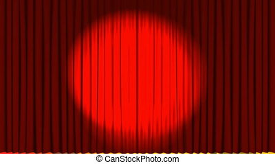 Curtains opening on a theater stage