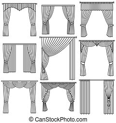 Curtains set.  Linear design. Vecto