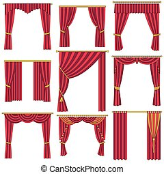 Curtains set.  Vector outlined illu
