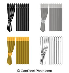 Curtains, single icon in cartoon style.Curtains, vector symbol stock illustration web.