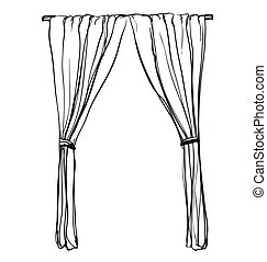 Curtains sketch. Hand drawn interior illustration