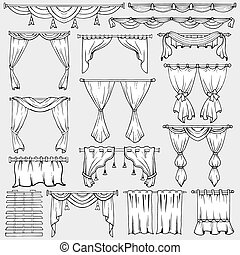 Curtains, window shades and drapery vector icons