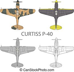Curtiss P40 - Vector illustration of old military airplane