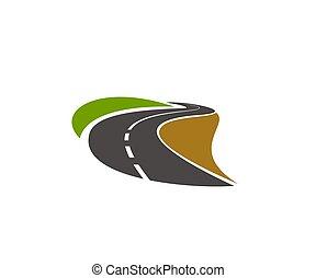 curva, camino, entrada de coches, camino, vector, icono, carretera