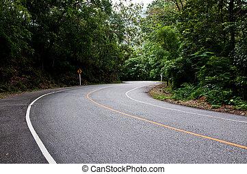 curva, di, strada, posizione, di, viaggiare, in, tailandia