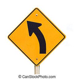 curva, isolato, segno, bianco, strada, sinistra