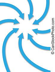 curva, setas, ponto, em, centro, espaço cópia