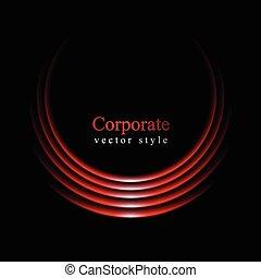 curva, sfondo nero, logotipo, rosso, splendore