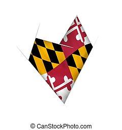 curvado, coração, bandeira, maryland, sketched