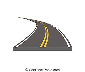 curvado, e, ditrection, rodovia, com, markings