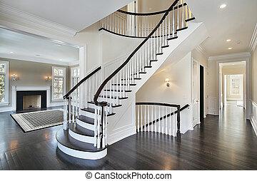 curvado, foyer, escadaria