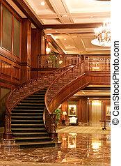 curvado, modernos, mármore, escadaria, lobby