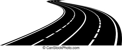 curvado, perspectiva, estrada