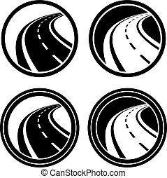 curvado, símbolo, pretas, estrada asfalto