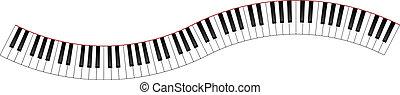 curvado, teclado piano
